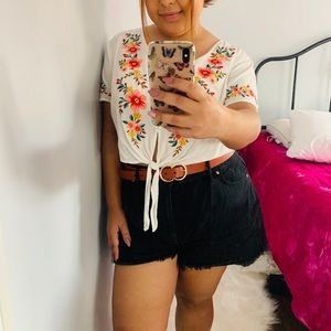 Forever 21 Embroidered Crop Top
